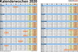 Vorlage 1 Kalenderwochen 2020 Mit Monaten Im Querformat Als Excel Word Pdf Dateien Kalenderwoche Kalender Vorlagen
