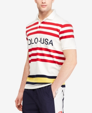bdb34a1e5da2 Polo Ralph Lauren Men s Cp-93 Classic-Fit Striped Polo - White L ...