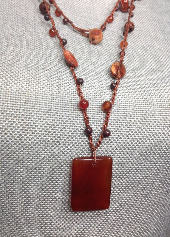 Dark Red Tone Beaded Crochet Necklace by byTAlyse on Etsy, $18.00