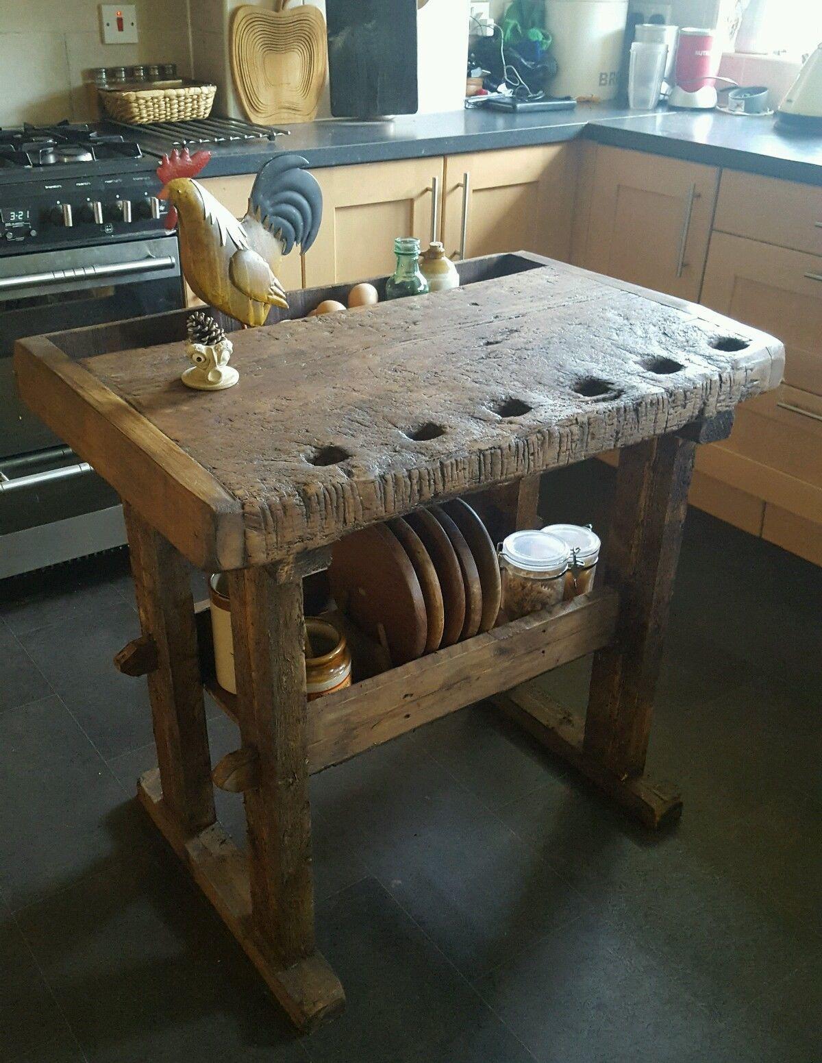 Rustic Workbench Table Butchers Block