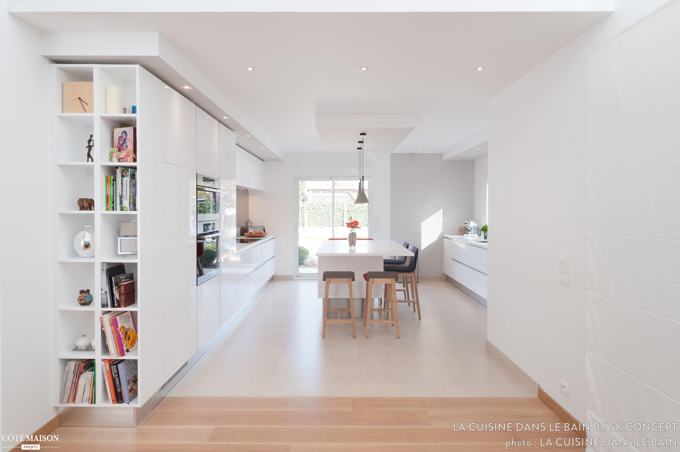 Une biblioth que bien pens e cuisine moderne cuisine Cuisine et salon moderne