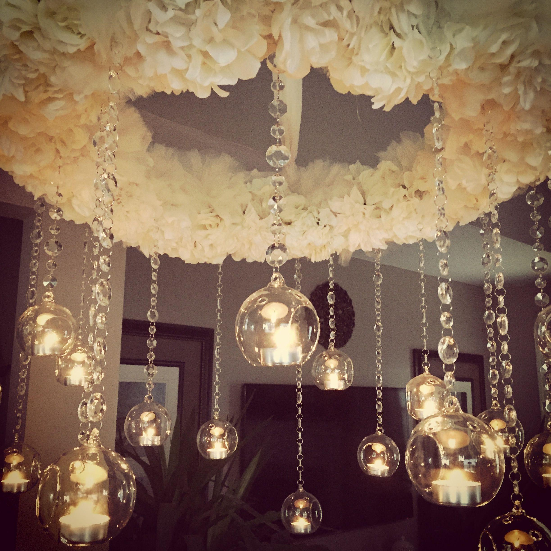 Diy Wedding Ceiling Decor Made From Wire Wreath Silk Flowers
