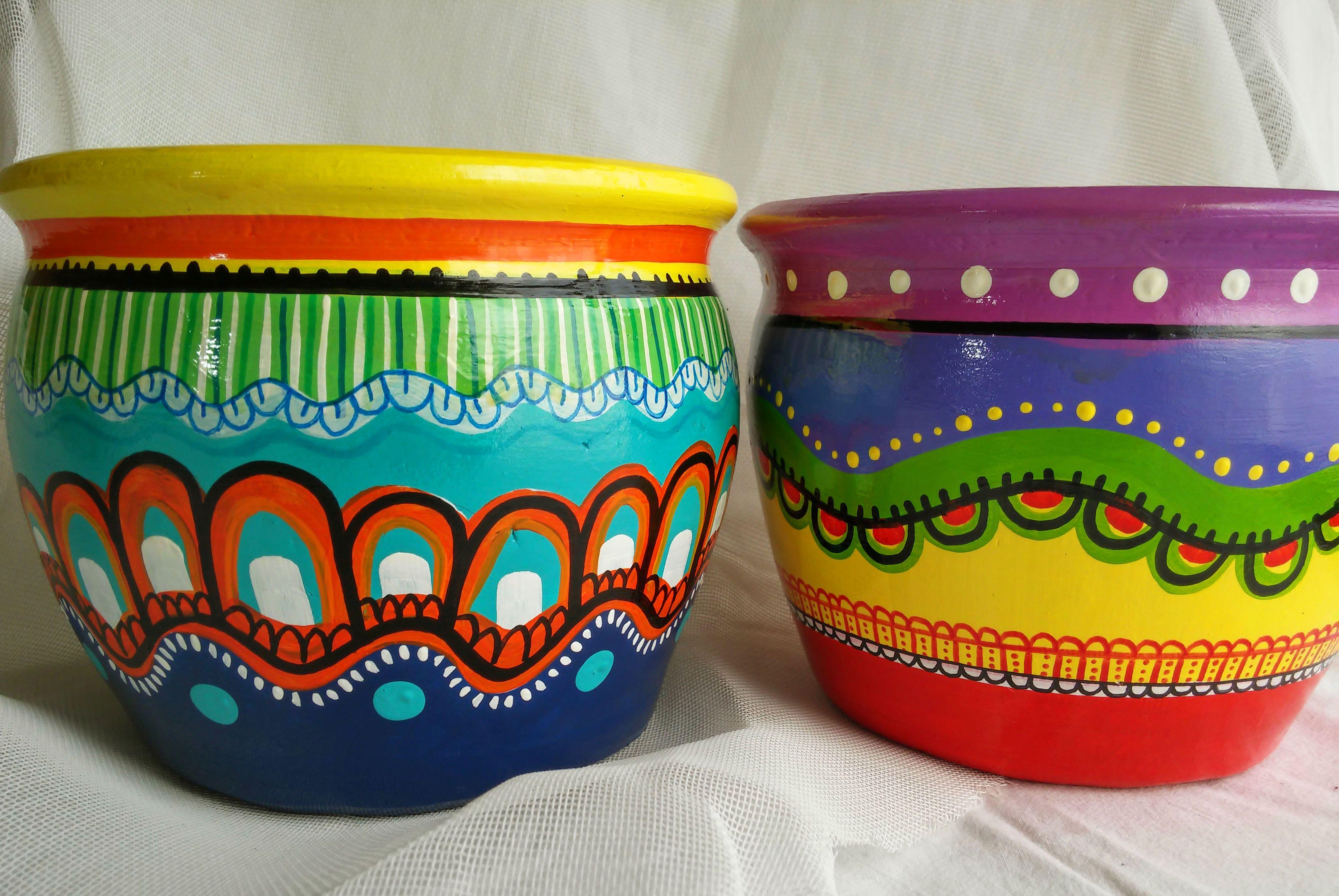 clay pot art ideas Pin by Karen Hickerson Bohemian Babe on Macetas by Laura Matellan