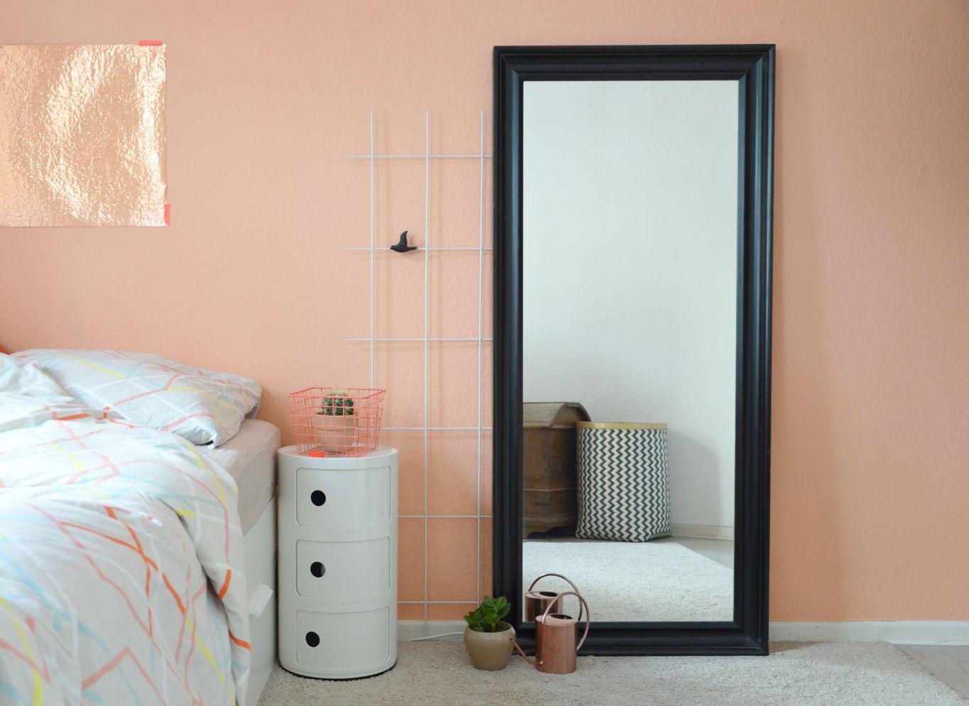 eine wand in der farbe von pfirsich-sorbet | pfirsich-sorbet, Schlafzimmer entwurf