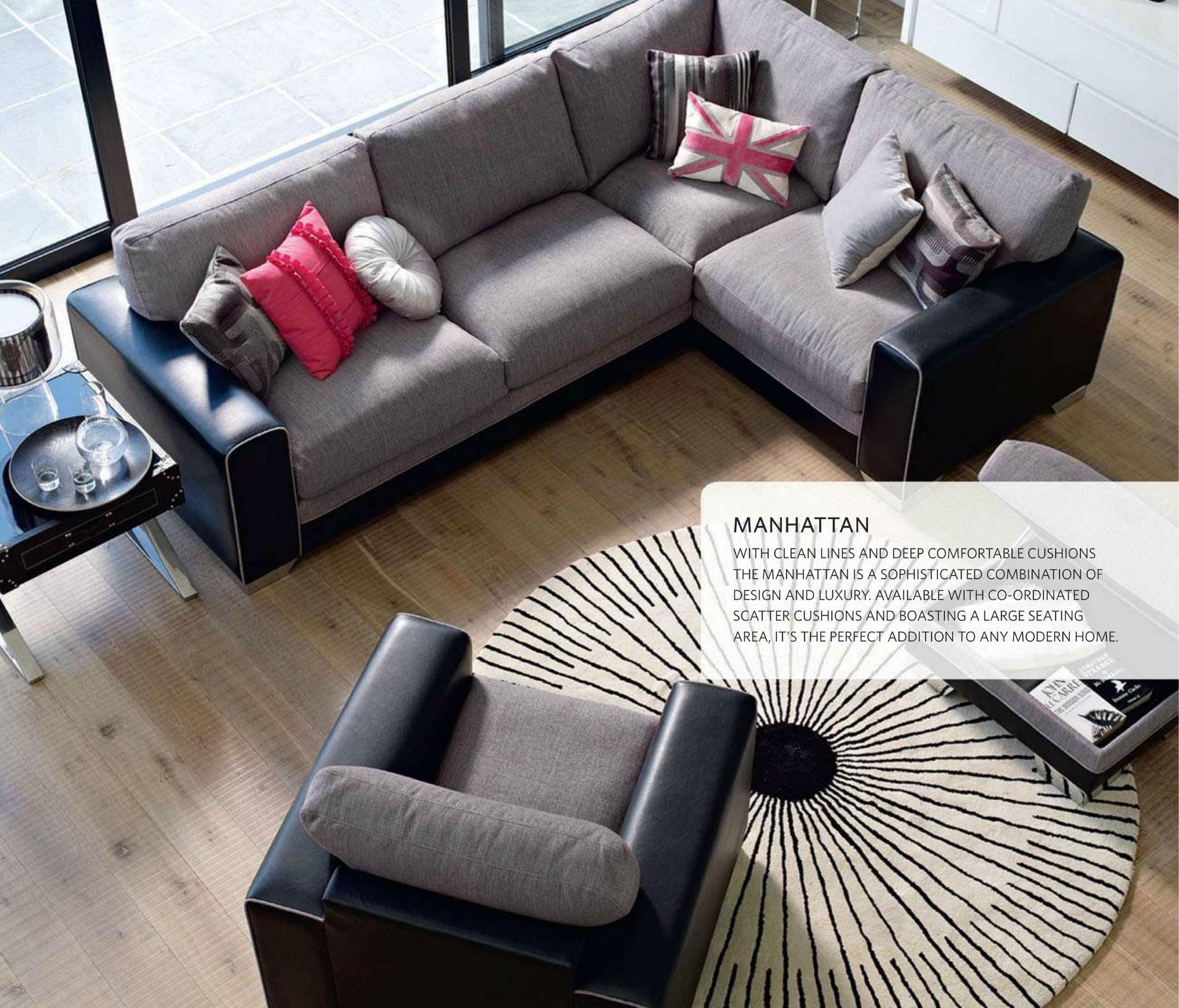 Manhattan Left Hand Facing Corner Group Fabric Sofa Leather Sofa Harvey Furniture