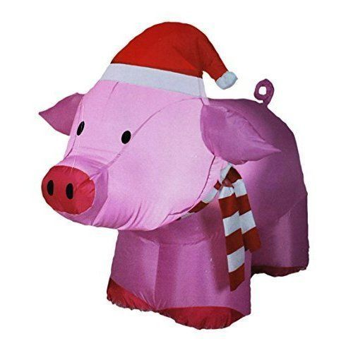 icymi 3ft inflatable pink pig indoor merry christmas tree village outdoor decorations