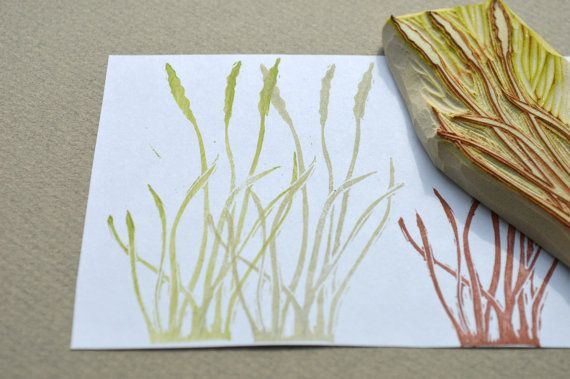 tall grass hand carved rubber stamp handmade rubber by StudioMo, $20.00