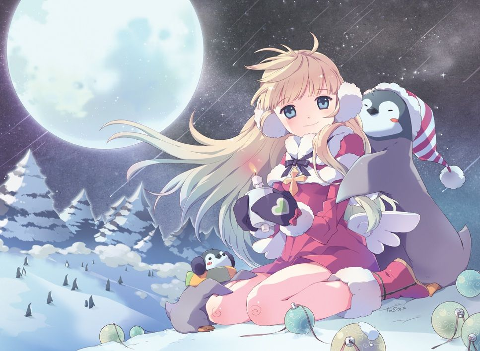 Anime Girl Being Hugged by Two Penguins Christmas