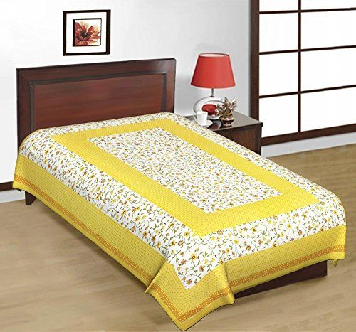 Odishabazaar Sanganeri Printed Cotton Single Bedsheet Bedcover in Yellow Odishabazaar http://www.amazon.com/dp/B01CFMJM9U/ref=cm_sw_r_pi_dp_T097wb0723W7Q