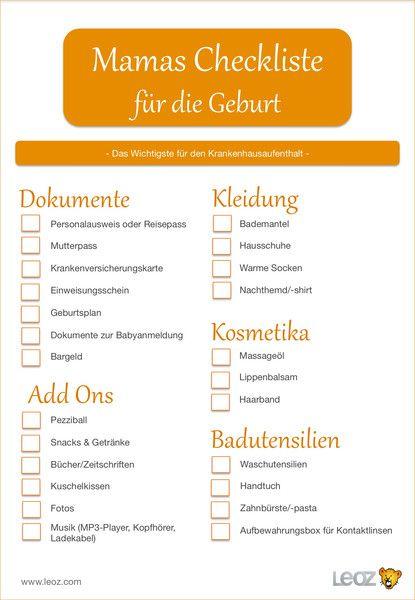 Mamas Checkliste für die Geburt, damit für den Krankenhausaufhalt ...