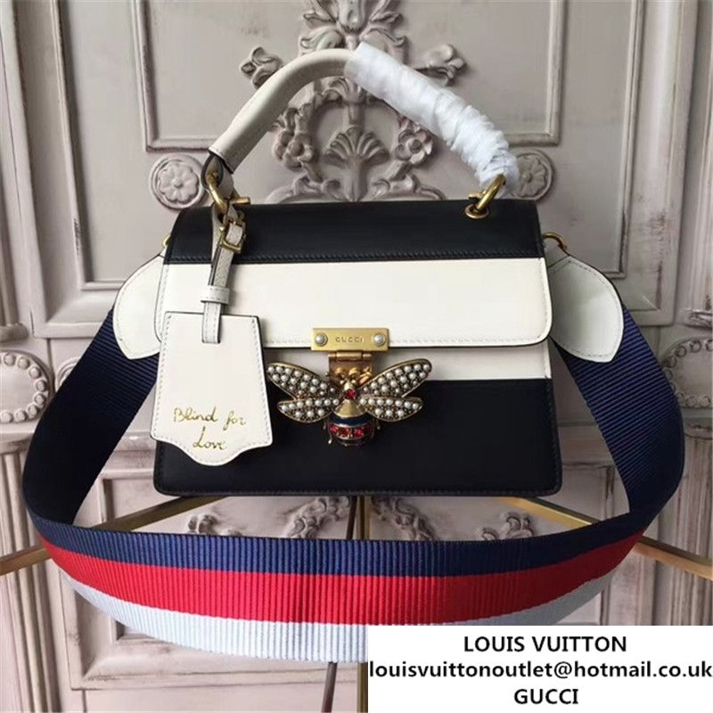 a4f07eae162 Gucci Queen Margaret Stripe Top Handle Shoulder Bag Calfskin Leather Fall  Winter 2017 Collection Black White