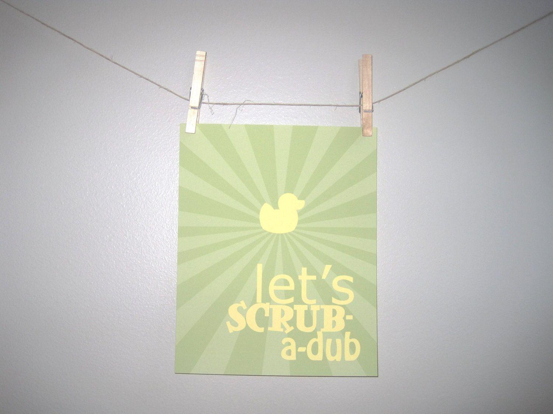 Kids Bathroom Wall Art, Childrens Print, 8x10 print, Green, Sage ...