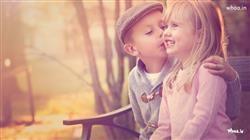 Little Boy First Kiss Girl Cheek Hd Kids Love Wallpaper First Kiss