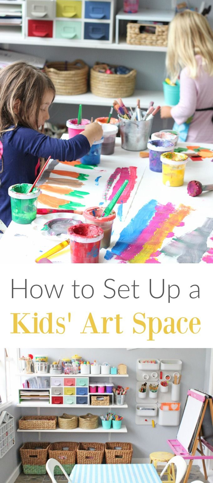 How to set up a kids art space that invites them to use materials independently when inspiration strikes. Tips and ideas.