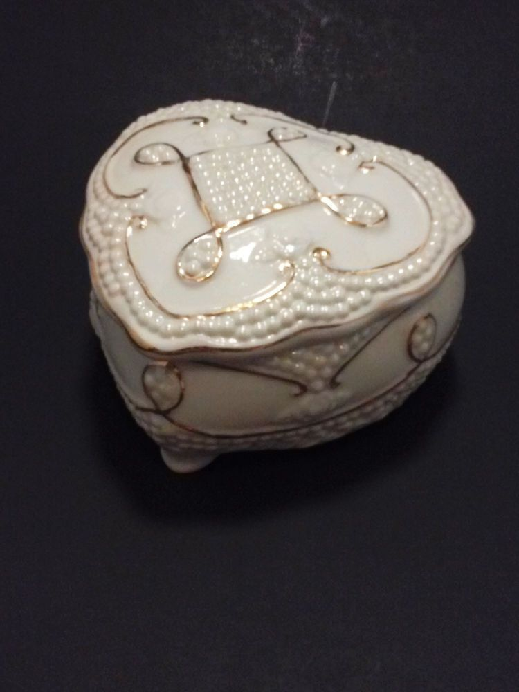 Heart Shaped Jewelry Box Ivory and Gold Valentine's Day