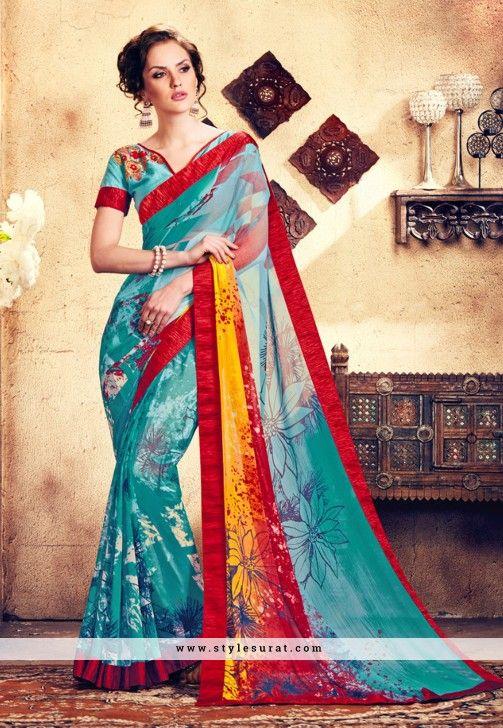 Stupendous Aqua Blue Color Georgette Fabric Floral Printed Saree