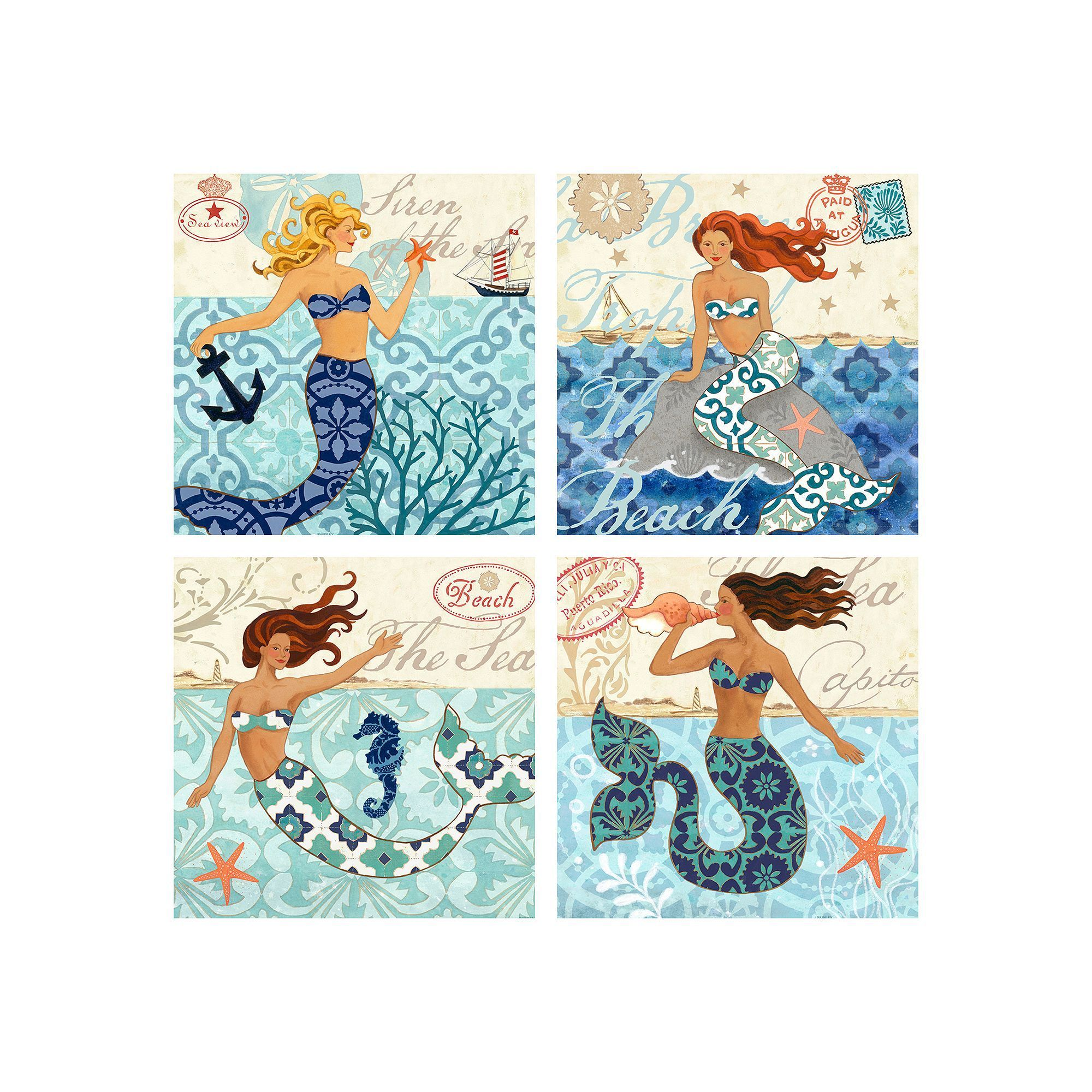 Mermaid canvas wall art 4 piece set multicolor