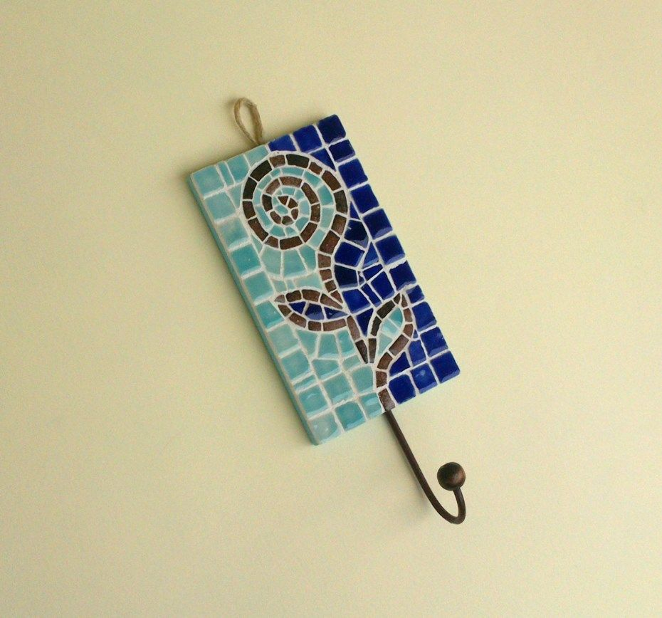 Abstract flower mosaic hanging hook-made with glazed mosaic ceramic ...