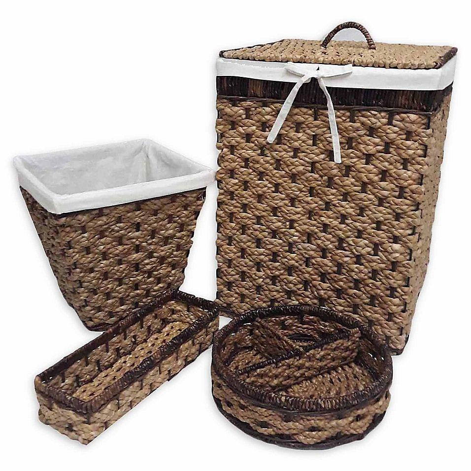 Baum Essex Peconic Bay 4 Piece Hamper And Basket Set In Natural Espresso Towel Basket Basket Hamper