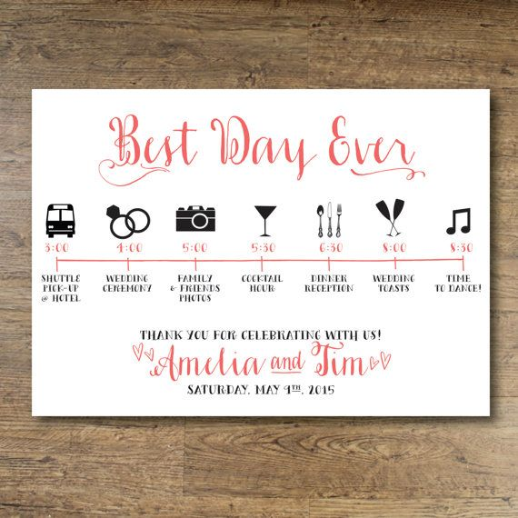Printable Wedding Day Guest Itinerary Card, Timeline by ...