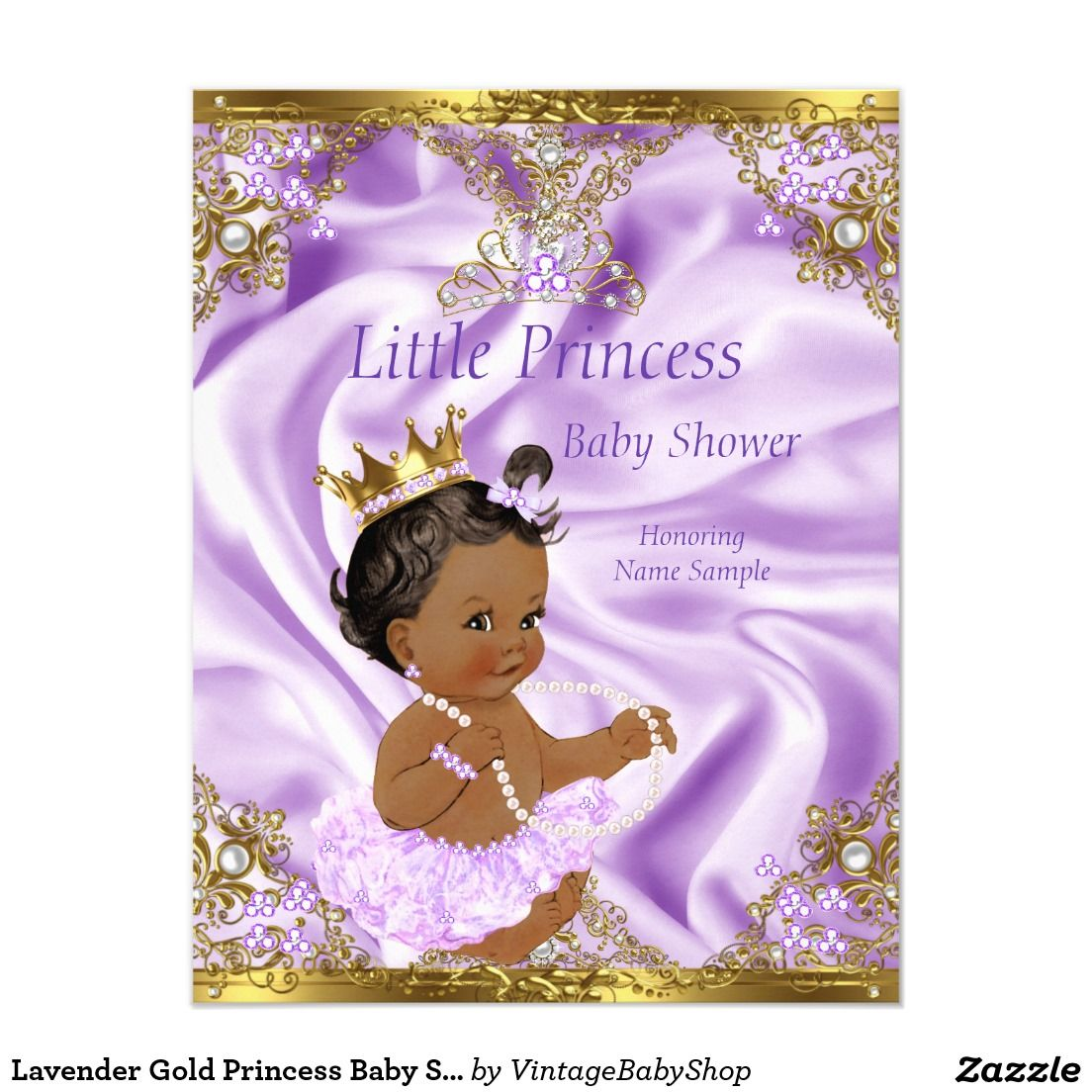 lavender gold princess baby shower ethnic girl card | princesses, Baby shower invitations