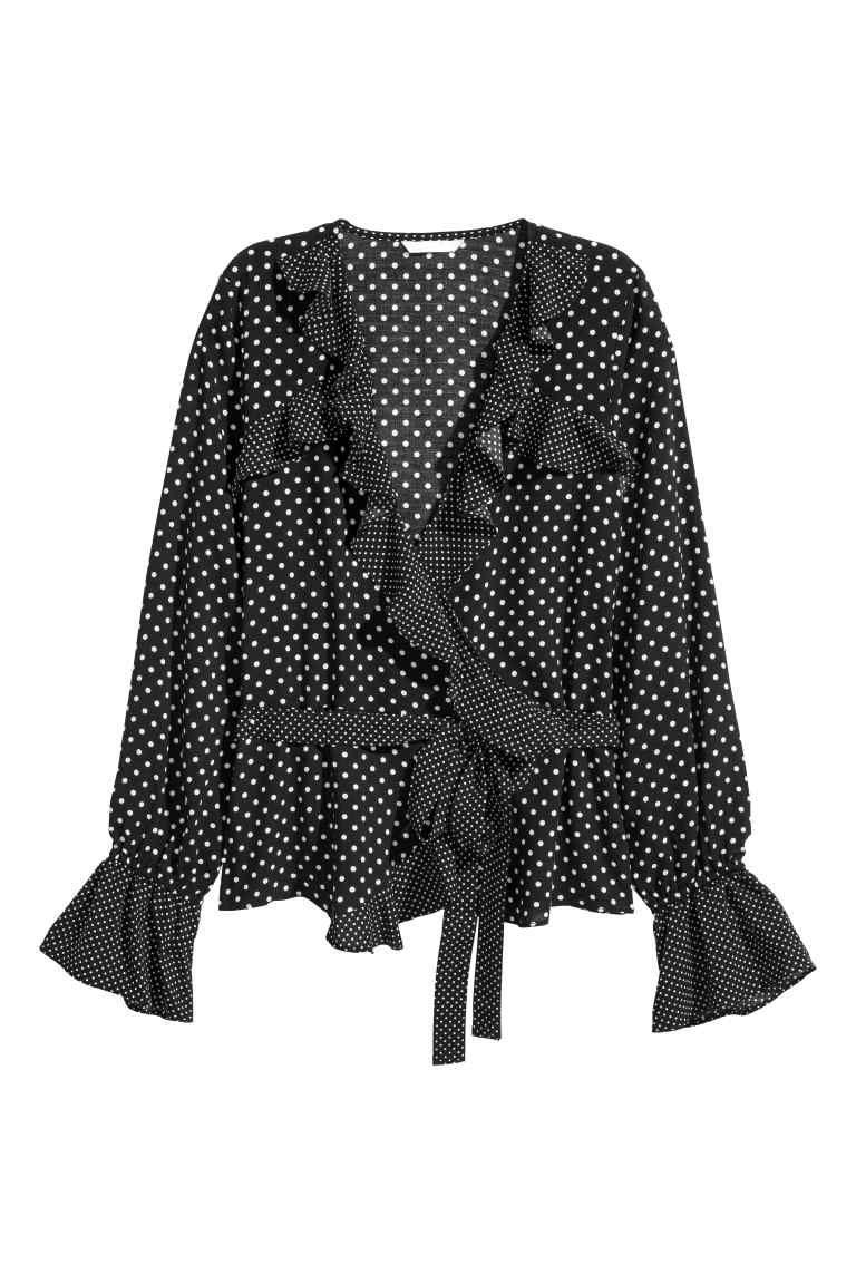 Zwart Overhemd Met Witte Stippen.Overslagblouse Met Volants Kleding Shirt Blouses Shirt Sale En