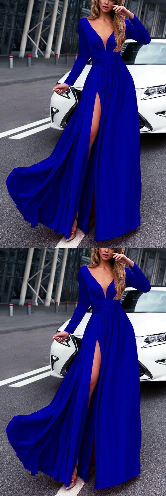 Royal blue long sleeves prom dresses leg split evening gowns in