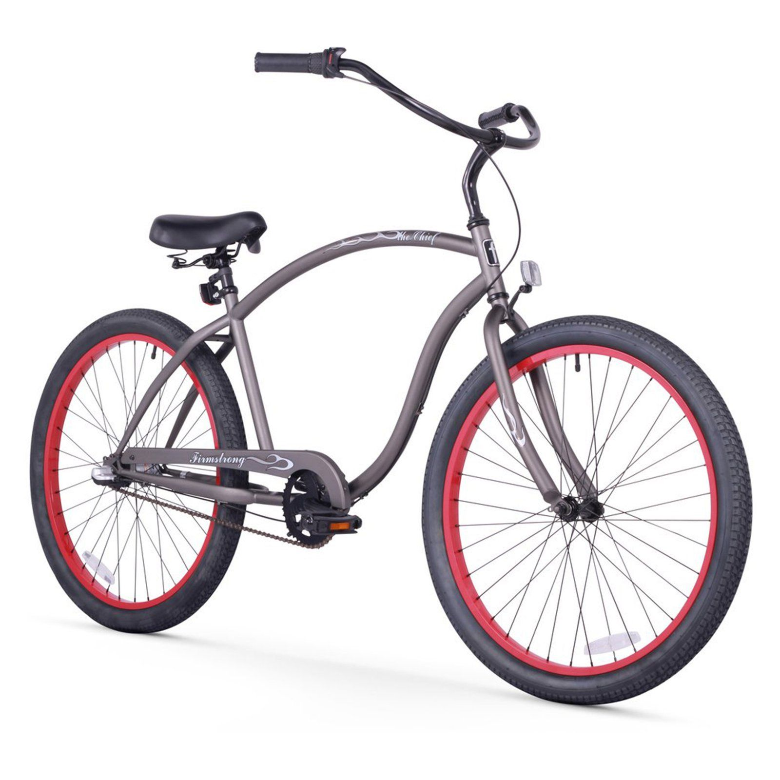 2400d846b1a Firmstrong Chief Man 26 in. 3 Speed Beach Cruiser Bicycle Matte Grey / Red  Rims
