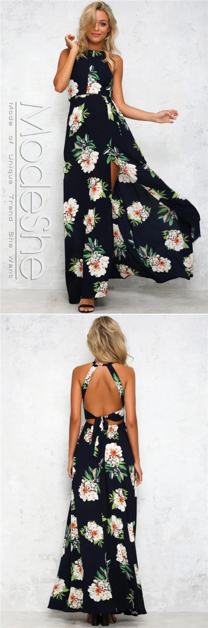 Black floral backless halter split maxi boho dress flower prints