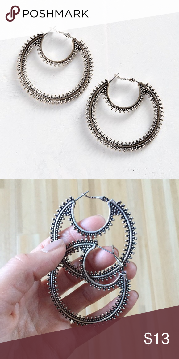 """NWOT Urban Outfitters Bohemian Night Hoop Earrings NWOT Urban Outfitters Bohemian Night Earrings. Hoop measures 2"""" around. Never worn- sold out! Urban Outfitters Jewelry Earrings"""