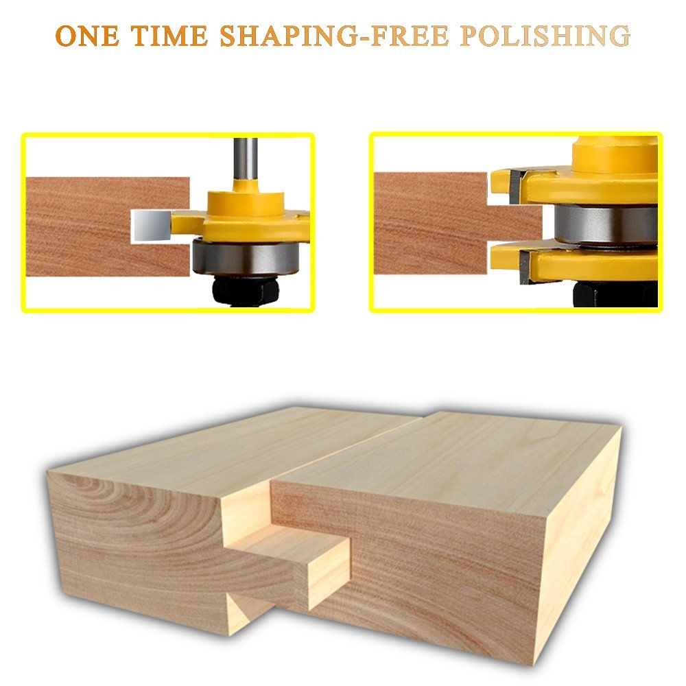 Danzix Tongue And Groove Router Bit Set Of 2 Wood Door Flooring 3teeth Tshape Adjustable 1 4 Inch Shank Woodworking Milli Router Bit Set Woodworking Wood Doors