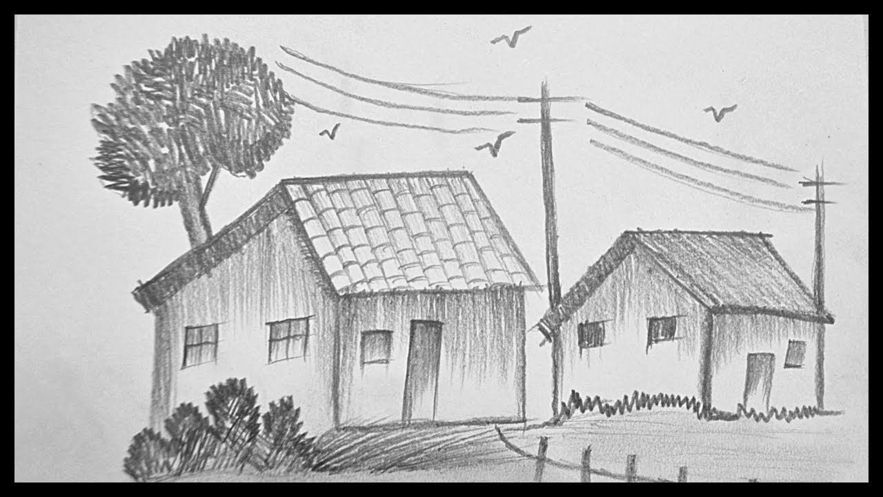 How to draw and shade a scenery drawing with pencil pencil art