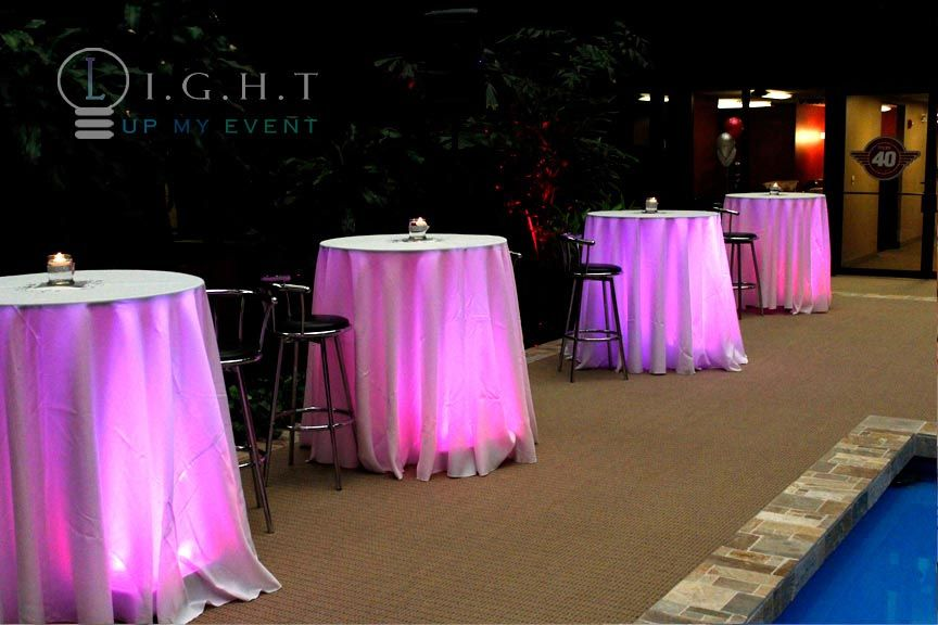 Delightful Pink Cocktail Table Under Lighting *WHITE LINENS   MULTI COLOR UNDER TABLE  LIGHTING RING