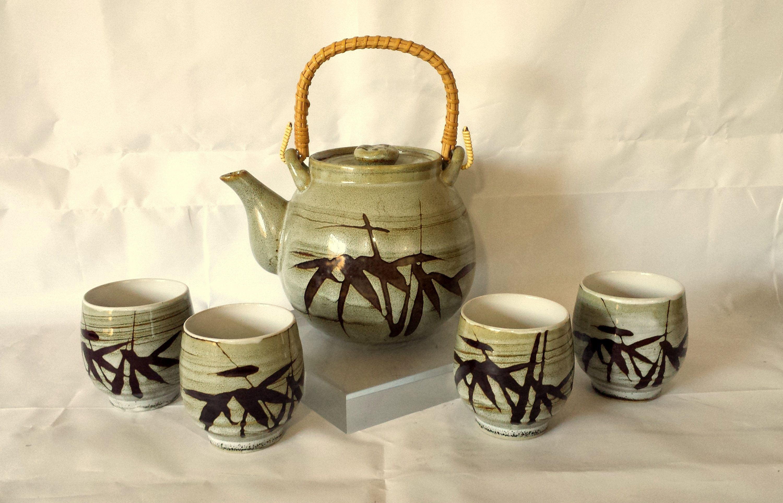 Vintage Artisan Wabi-Sabi Japanese Ceramic Glazed Tea Pot Set With Four Cups #teapotset