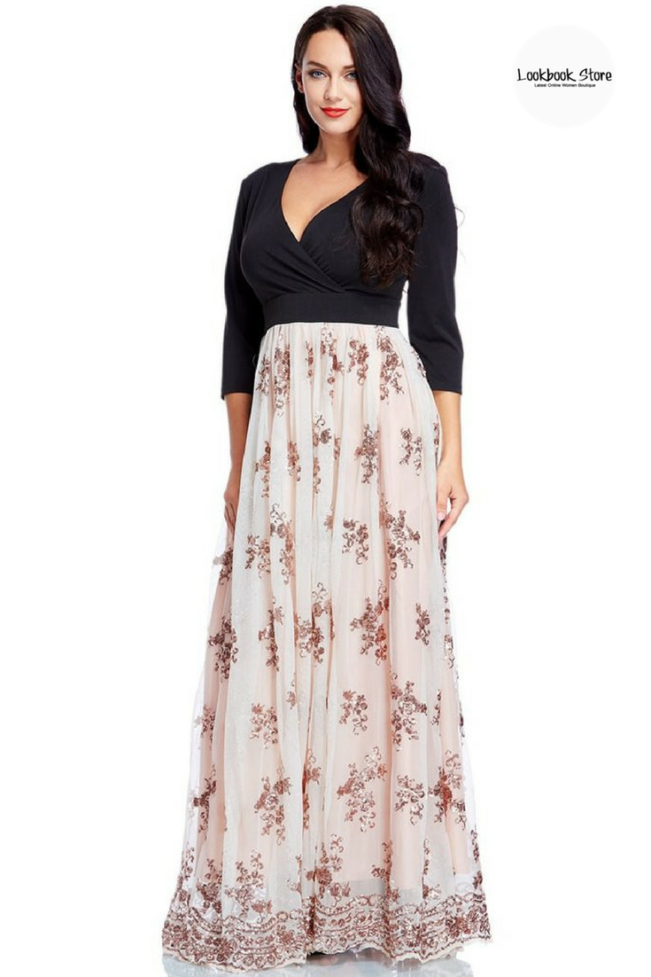 c5b52fe853130 Most Wanted    Wear this beautiful plus size floral sequin maxi dress with  your strappy heels or flats for a surely stunning OOTD.