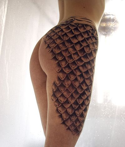 mermaid scales.... a little much but i like the idea | Tattoos ...