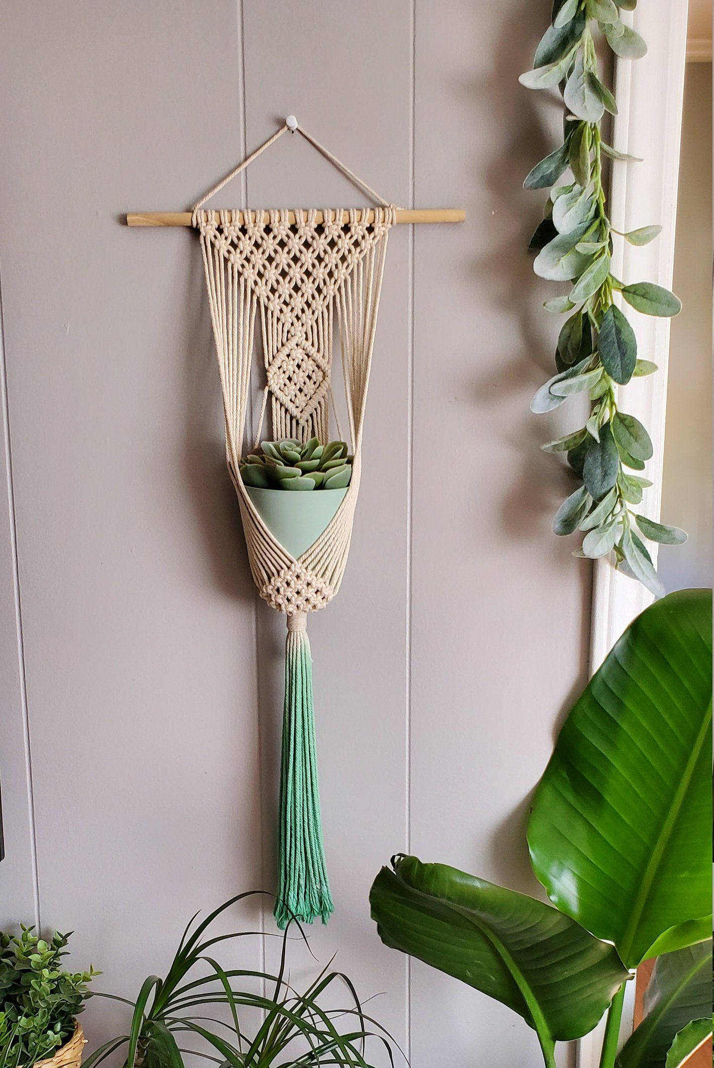 Clove Hitch Single Plant Hanger Macrame Plant Wall Hanging