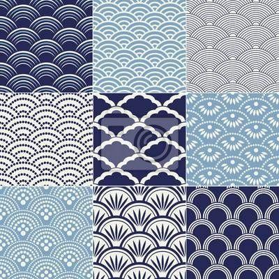 papier peint japanese seamless ocean wave pattern vague papier peint bleu. Black Bedroom Furniture Sets. Home Design Ideas
