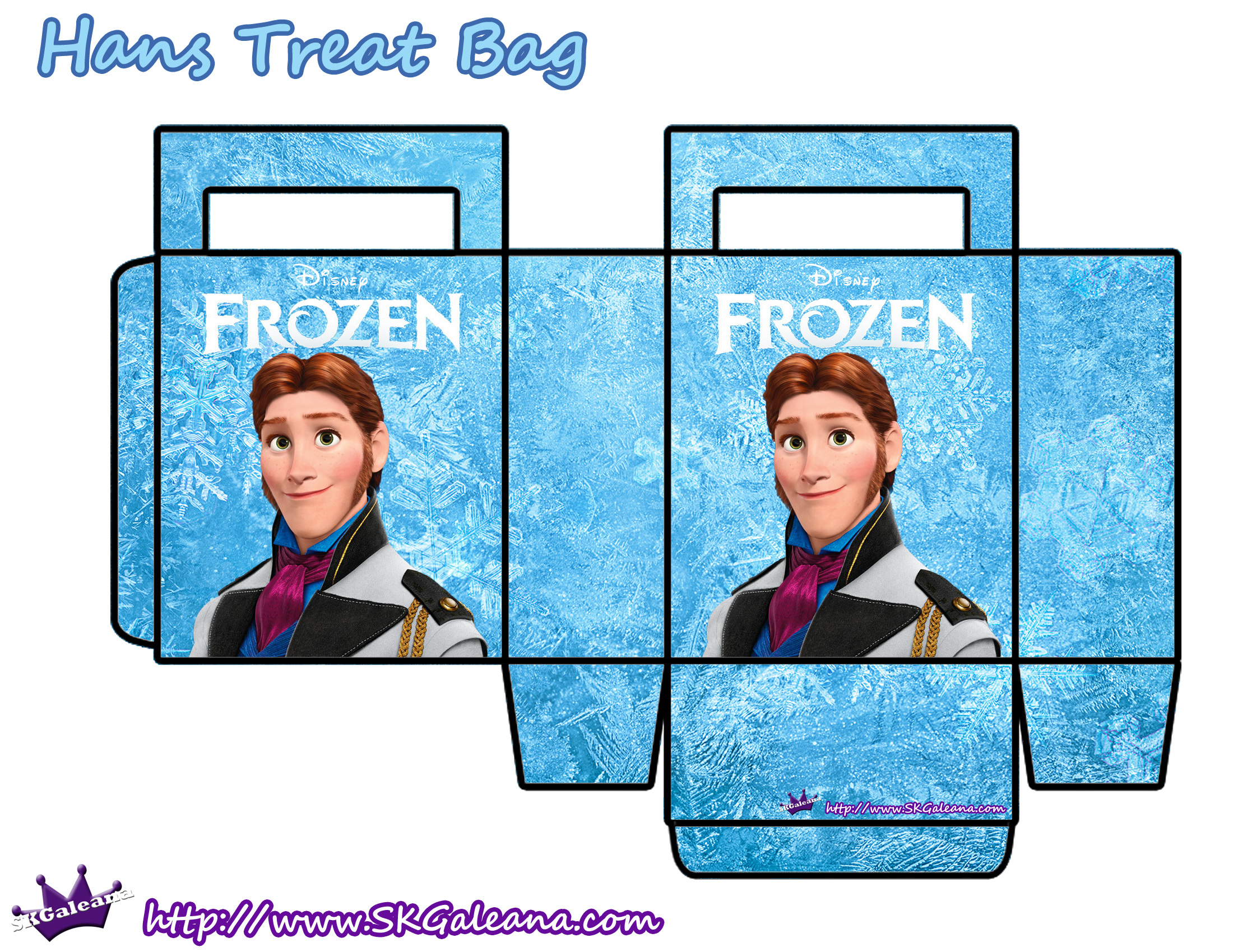 Frozen Free Printable Paper Bags In Light Blue