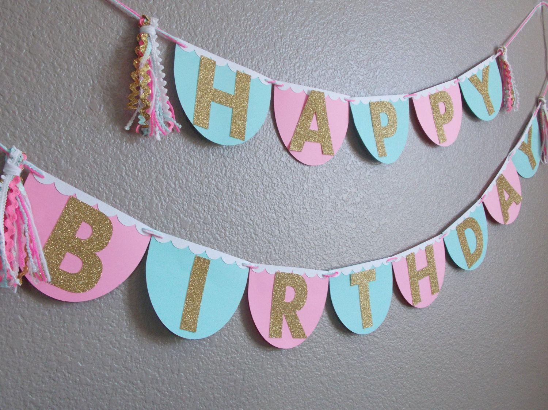 scallop mint pink white gold glitter happy birthday tassel banner first birthday banner birthday