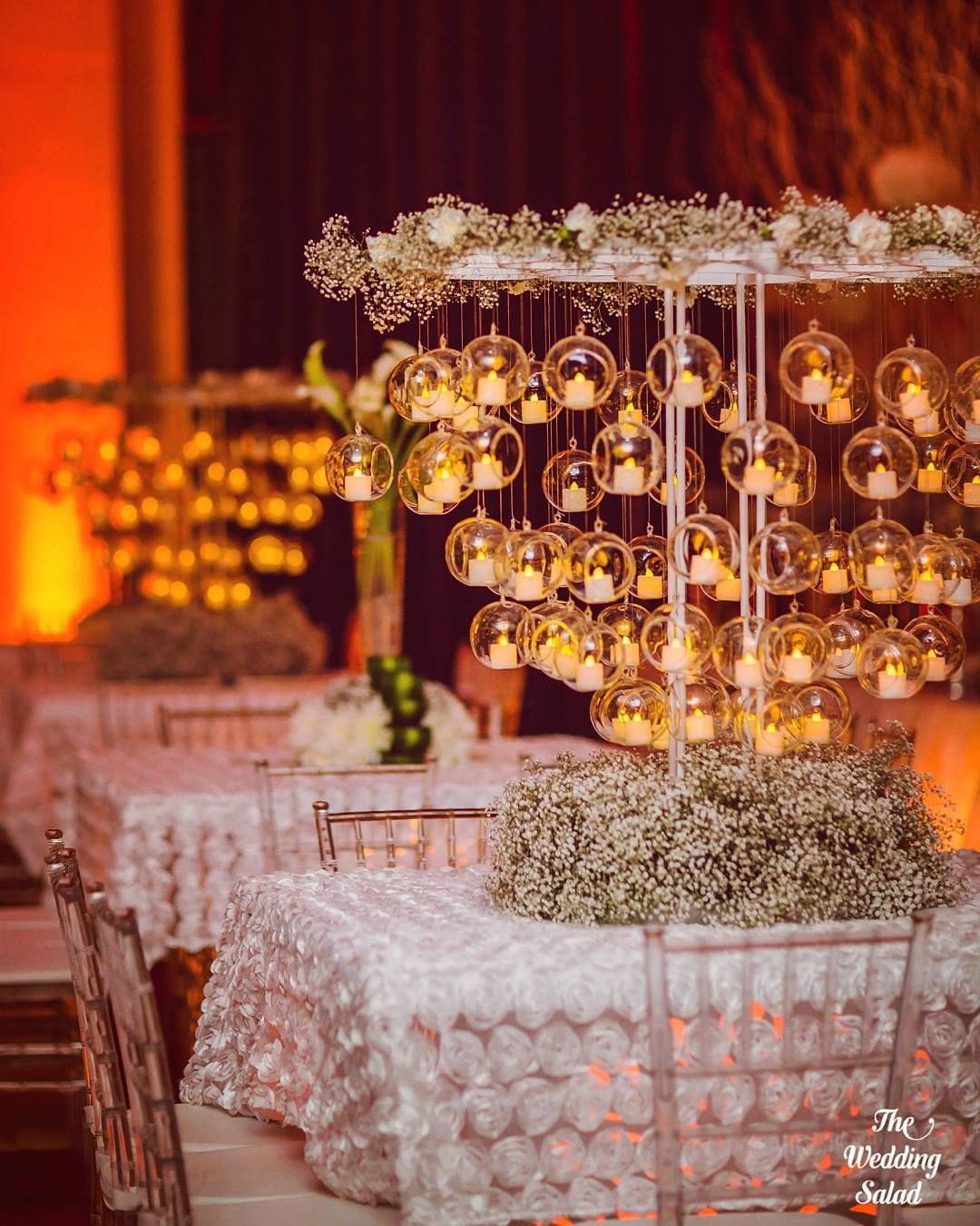 White Luxury Wedding Decor With Wonderful And Beautiful: Beautiful Centerpiece At Muscat Wedding