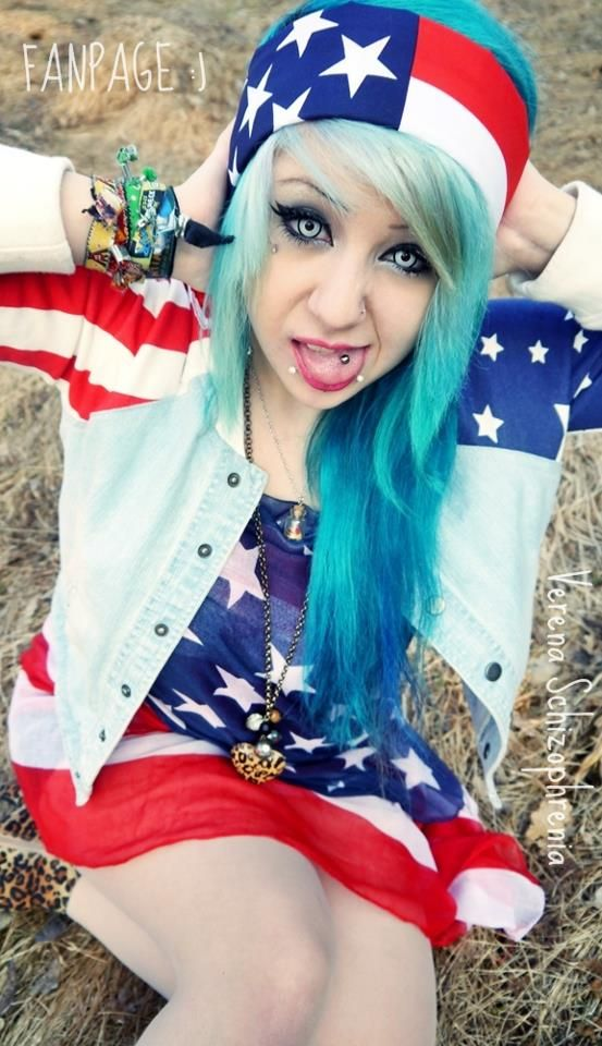 Verena Schizophrenia Blue Dyed Hair Pretty Scene Hair