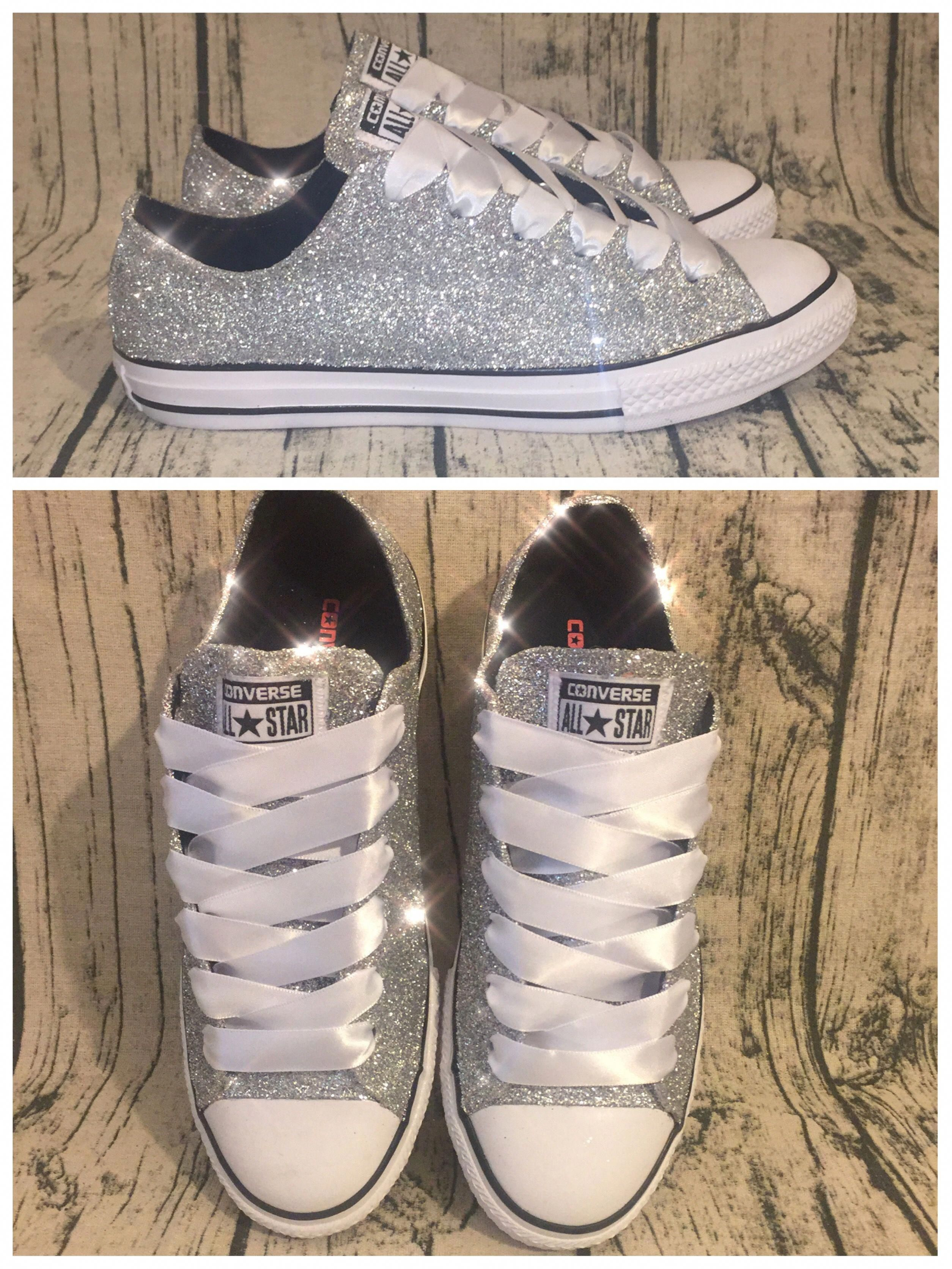 60021a3ab226 www.glittershoeco.com Women s Sparkly Silver Glitter Converse. Custom Made.  High Top Low Top and Wedge Heels are available.  Promheels