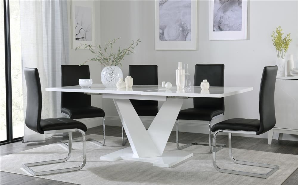 Turin White High Gloss Extending Dining Table With 4 Perth Black