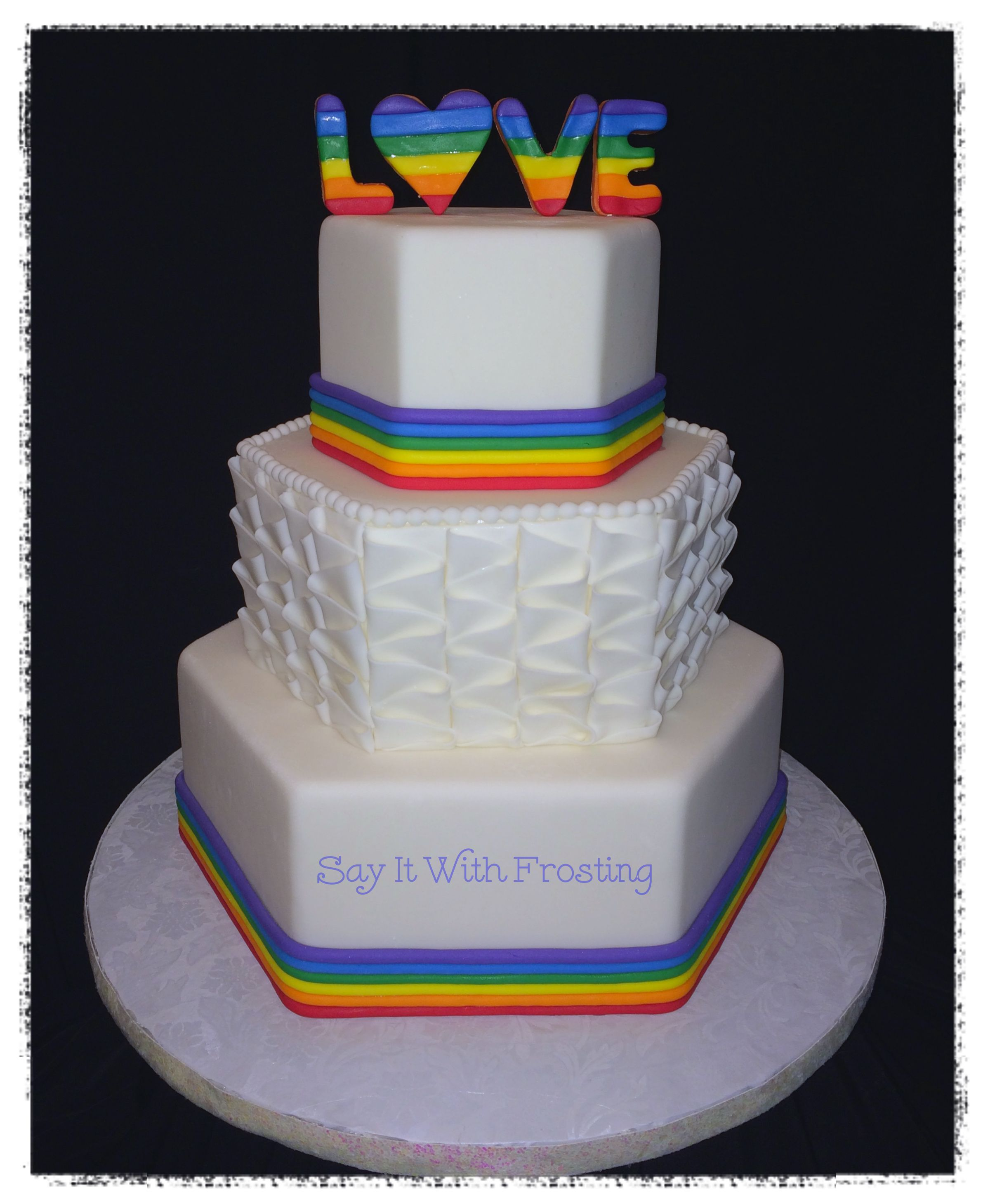 Pensacola LGBT Wedding Cakes Custom Rainbow Themed Cake For A Bridal Show At