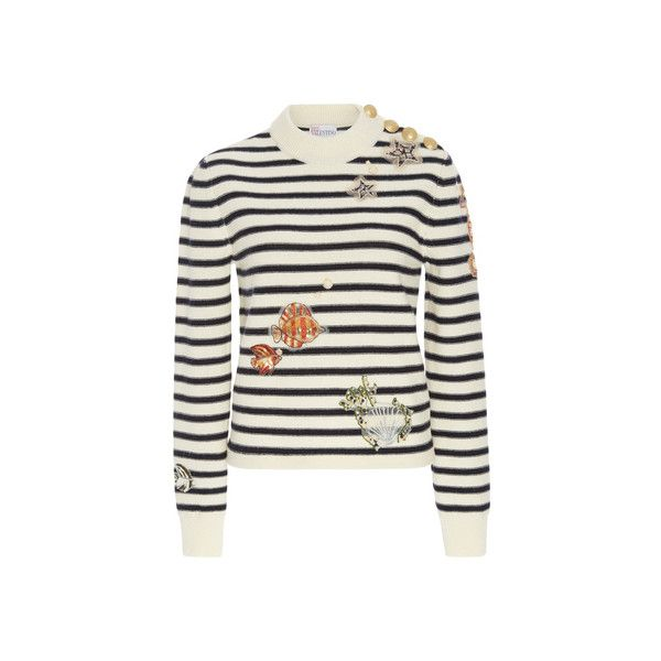 Red Valentino Striped Sweater with Applique ($950) ❤ liked on Polyvore featuring tops, sweaters, white embellished top, white long sleeve top, striped top, stripe top and long sleeve tops