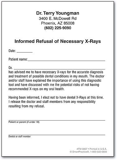 Refusal of Necessary X-Rays by SmartPractice Work Pinterest - informed consent form
