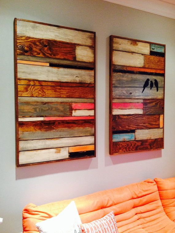Reclaimed wood wall art wall hanging birds original painting wood ...
