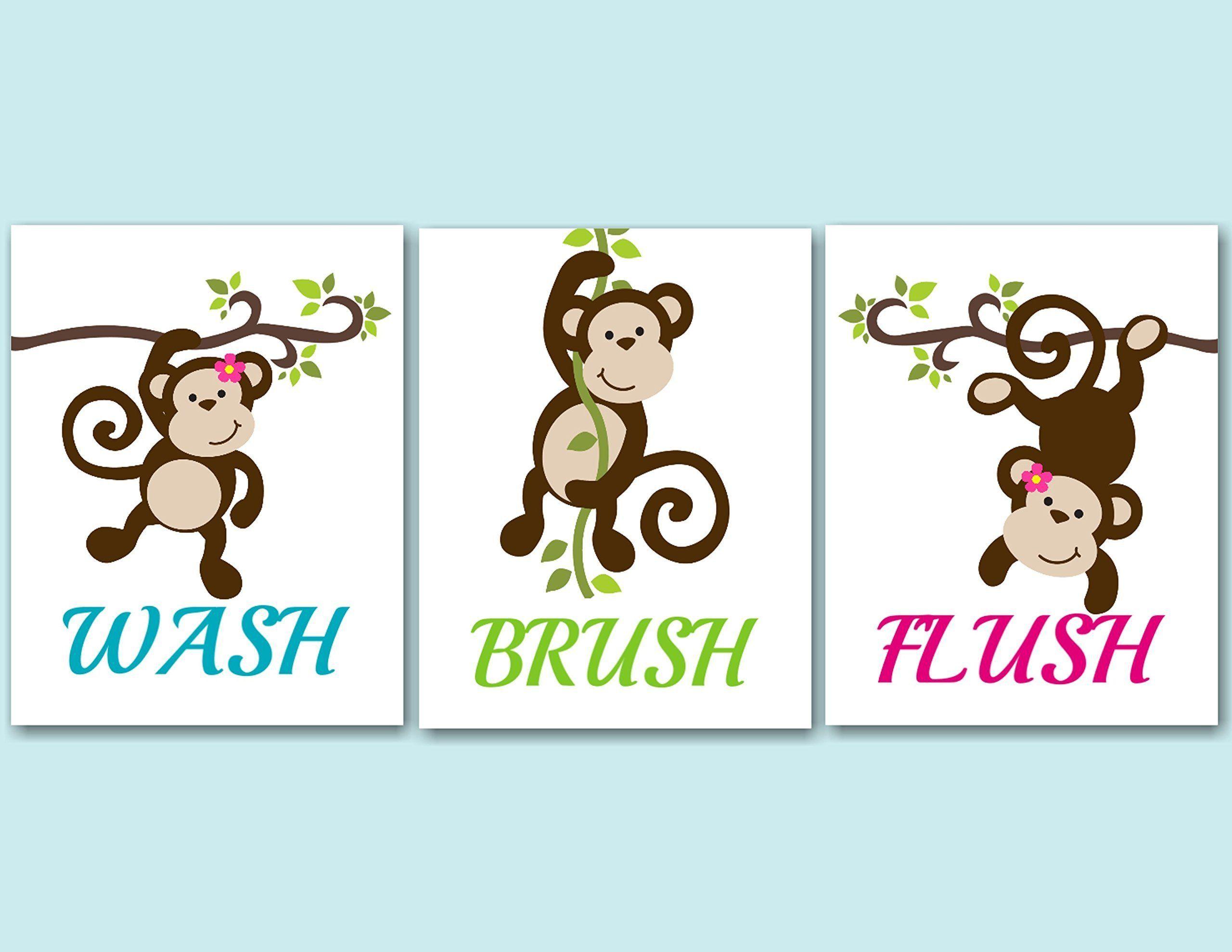 Monkey Décor,Monkey Bathroom Wall Art,Monkey Bathroom Wall