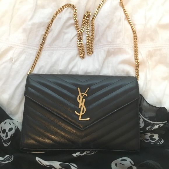 Ysl Clutch With Gold Chain Ysl Black Clutch Handbag With
